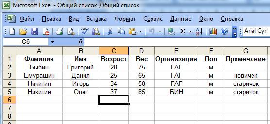 форма заявки в Excel
