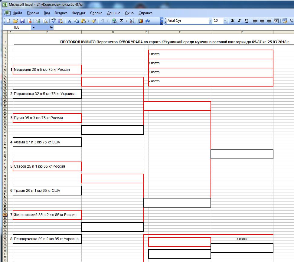 турнирная таблица в Excel